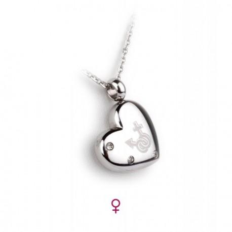 Collier coeur acier-strass