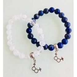 Deux Bracelets - Cristal + Lapis lazuli