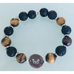 Bracelet Homme - Œil de tigre et pierre de lave